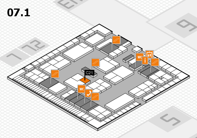 K 2016 hall map (Hall 7, level 1): stand C21