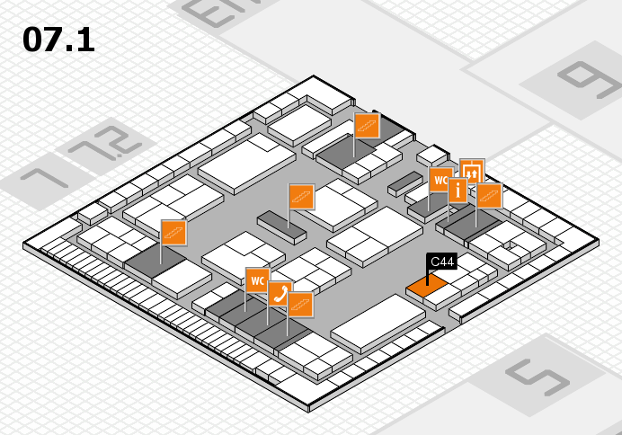 K 2016 hall map (Hall 7, level 1): stand C44