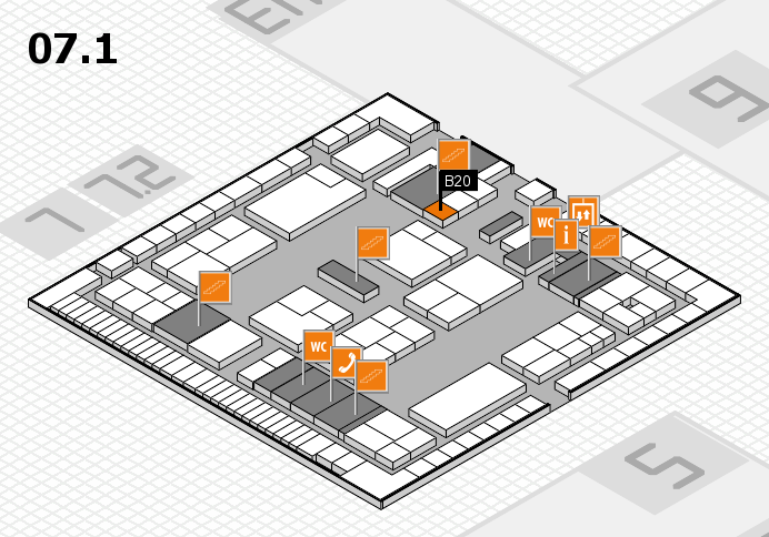 K 2016 hall map (Hall 7, level 1): stand B20