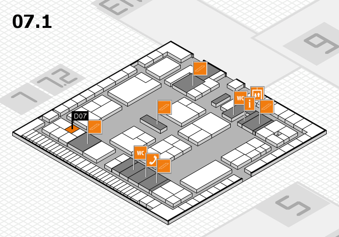 K 2016 hall map (Hall 7, level 1): stand D07