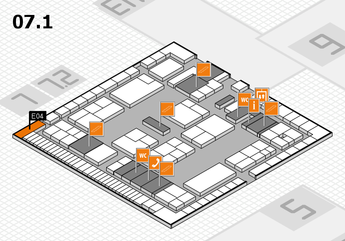 K 2016 hall map (Hall 7, level 1): stand E04