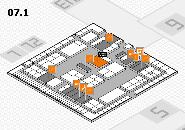 K 2016 hall map (Hall 7, level 1): stand C20