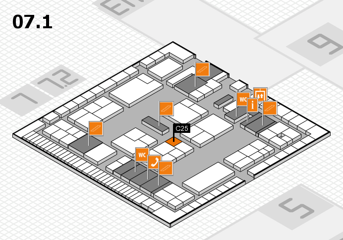 K 2016 hall map (Hall 7, level 1): stand C25