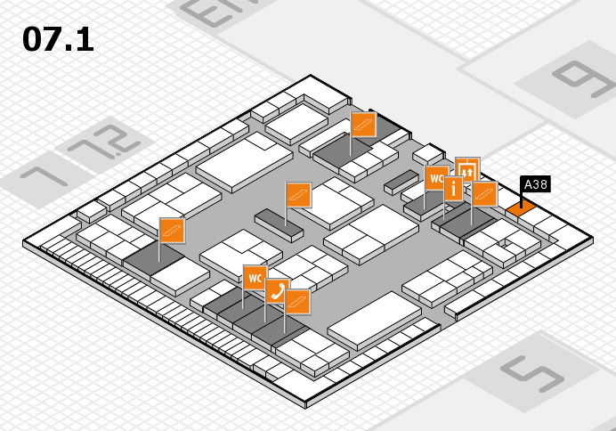 K 2016 hall map (Hall 7, level 1): stand A38