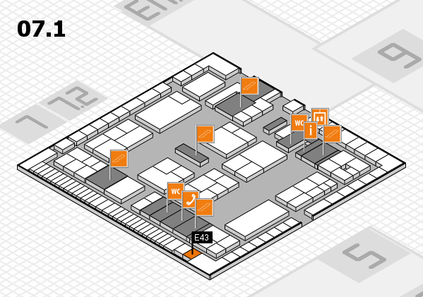 K 2016 hall map (Hall 7, level 1): stand E43