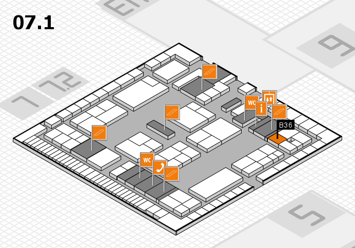 K 2016 hall map (Hall 7, level 1): stand B36