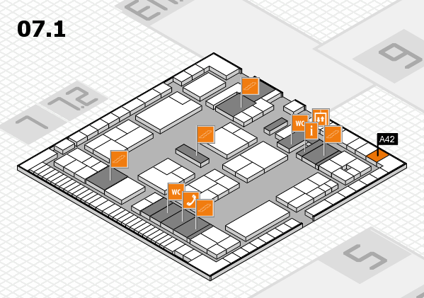 K 2016 hall map (Hall 7, level 1): stand A42
