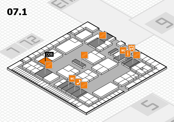 K 2016 hall map (Hall 7, level 1): stand D08