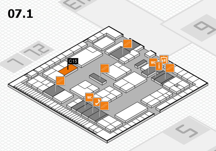 K 2016 hall map (Hall 7, level 1): stand C15