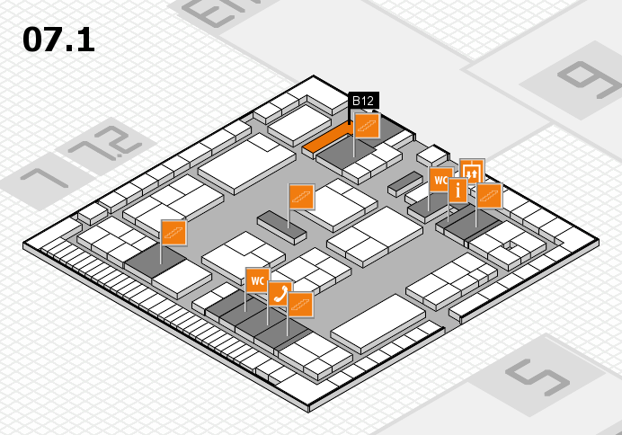 K 2016 hall map (Hall 7, level 1): stand B12