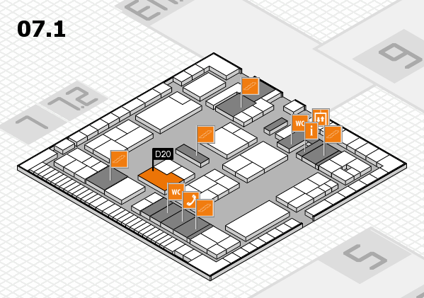 K 2016 hall map (Hall 7, level 1): stand D20