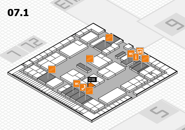K 2016 hall map (Hall 7, level 1): stand D38