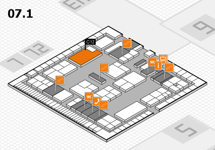 K 2016 hall map (Hall 7, level 1): stand C12