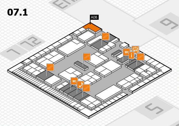 K 2016 hall map (Hall 7, level 1): stand A08
