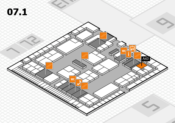 K 2016 hall map (Hall 7, level 1): stand A43