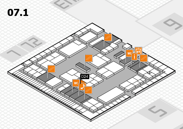 K 2016 hall map (Hall 7, level 1): stand D24