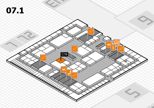 K 2016 hall map (Hall 7, level 1): stand C19