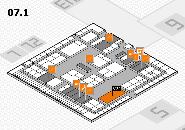 K 2016 hall map (Hall 7, level 1): stand C37