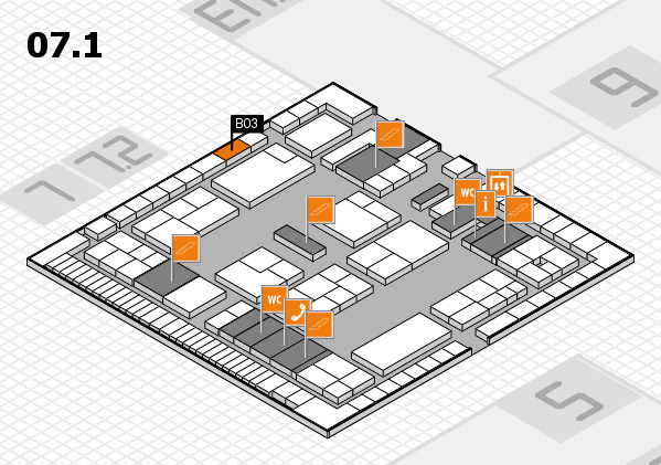 K 2016 hall map (Hall 7, level 1): stand B03