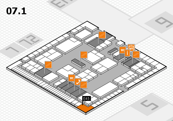 K 2016 hall map (Hall 7, level 1): stand E45