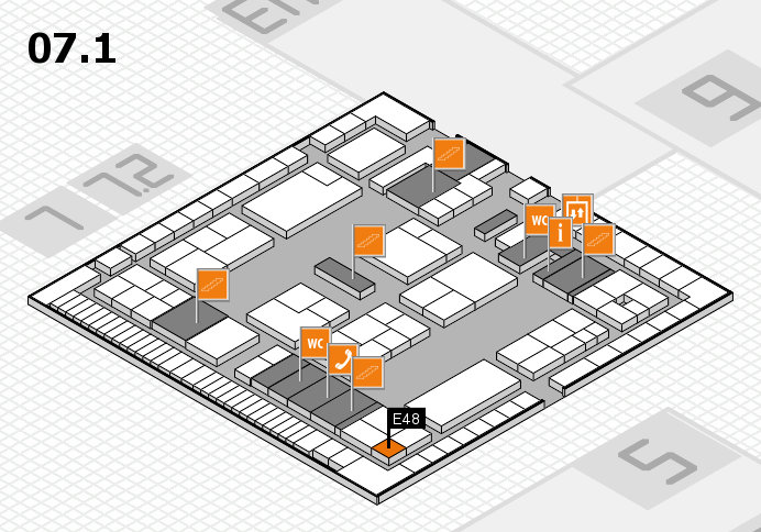 K 2016 hall map (Hall 7, level 1): stand E48