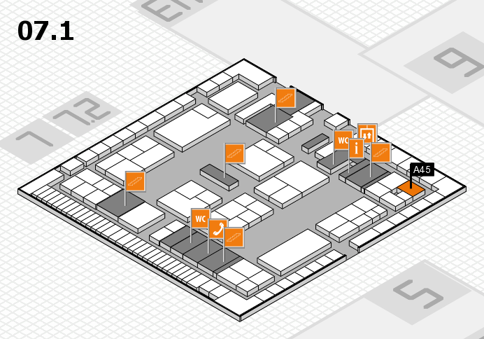 K 2016 hall map (Hall 7, level 1): stand A45