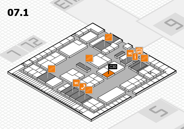 K 2016 hall map (Hall 7, level 1): stand C30