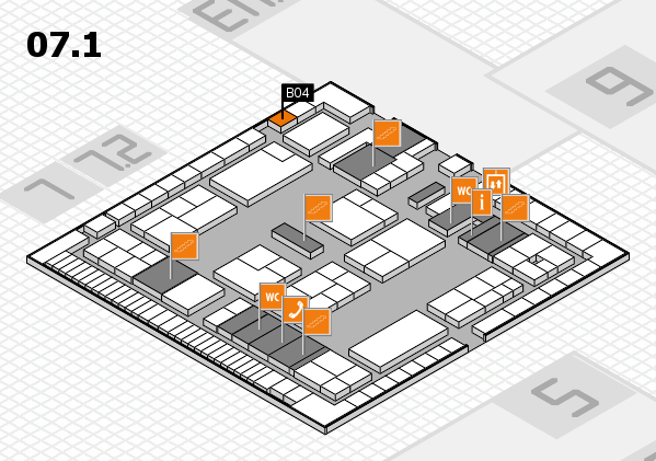 K 2016 hall map (Hall 7, level 1): stand B04