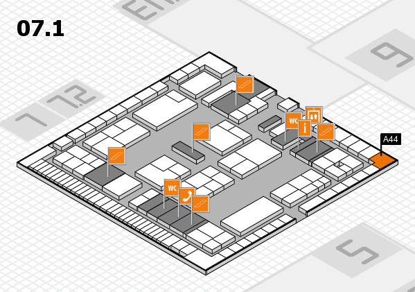 K 2016 hall map (Hall 7, level 1): stand A44