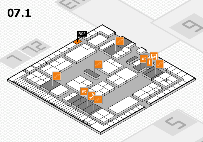 K 2016 hall map (Hall 7, level 1): stand B05