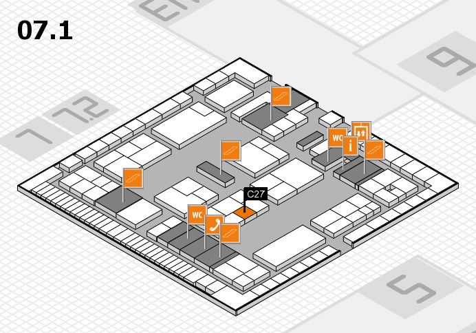 K 2016 hall map (Hall 7, level 1): stand C27