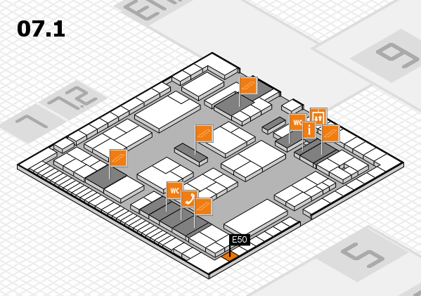 K 2016 hall map (Hall 7, level 1): stand E50