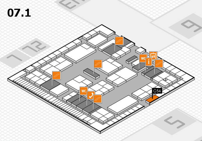 K 2016 hall map (Hall 7, level 1): stand C54