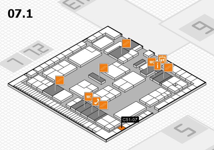 K 2016 hall map (Hall 7, level 1): stand C51-07