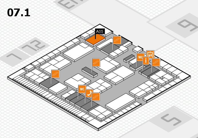 K 2016 hall map (Hall 7, level 1): stand A05