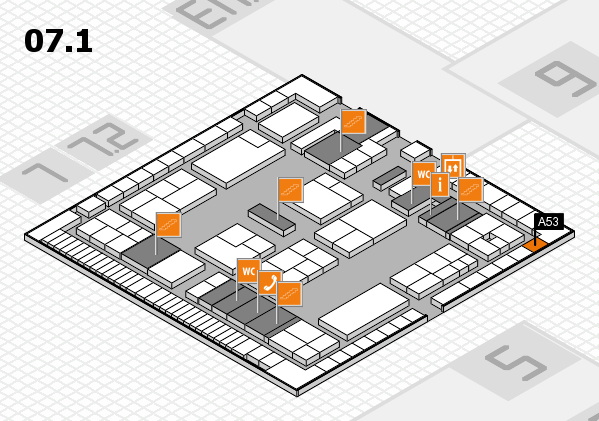 K 2016 hall map (Hall 7, level 1): stand A53