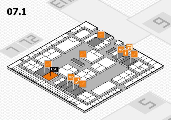 K 2016 hall map (Hall 7, level 1): stand E20