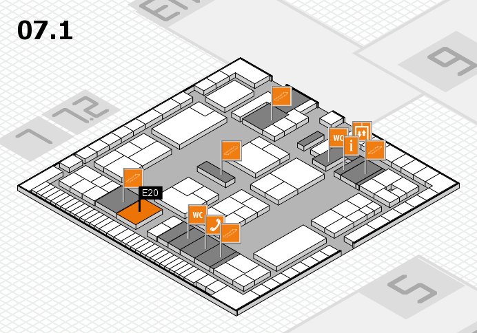 K 2016 hall map (Hall 7, level 1): stand E20