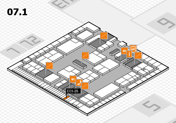 K 2016 hall map (Hall 7, level 1): stand E03-28
