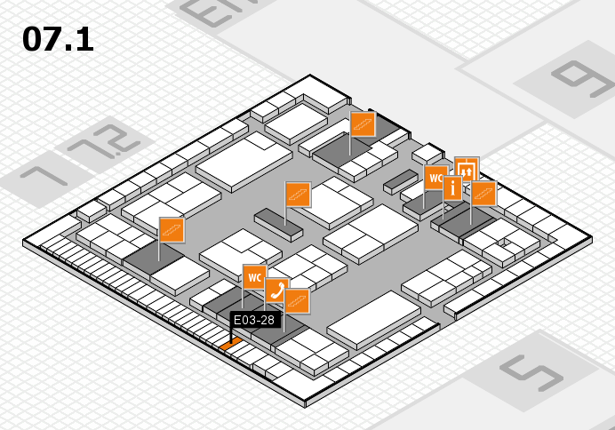 K 2016 hall map (Hall 7, level 1): stand E03-28