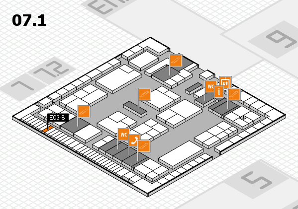 K 2016 hall map (Hall 7, level 1): stand E03-8
