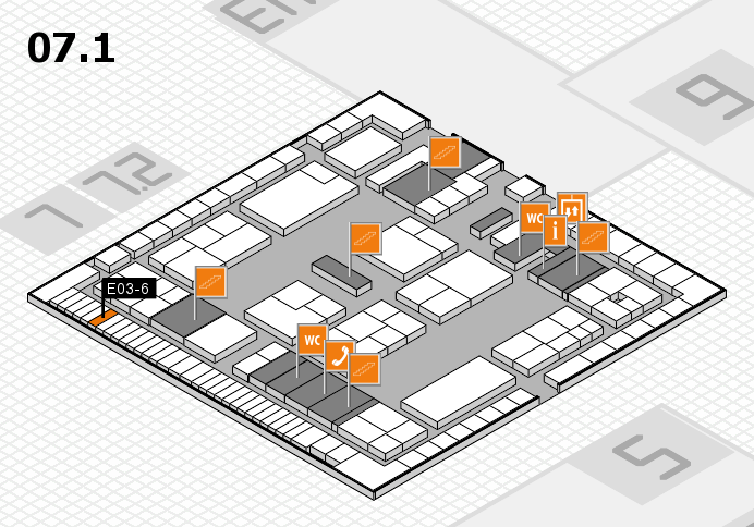 K 2016 hall map (Hall 7, level 1): stand E03-6