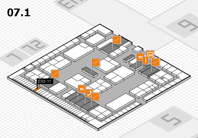 K 2016 hall map (Hall 7, level 1): stand E03-11