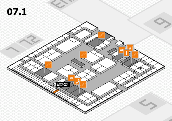 K 2016 hall map (Hall 7, level 1): stand E03-23