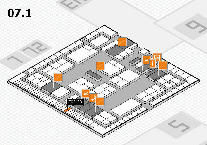 K 2016 hall map (Hall 7, level 1): stand E03-23