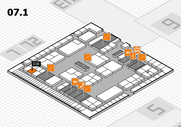 K 2016 hall map (Hall 7, level 1): stand E08