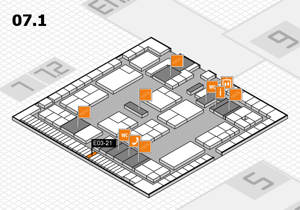 K 2016 hall map (Hall 7, level 1): stand E03-21