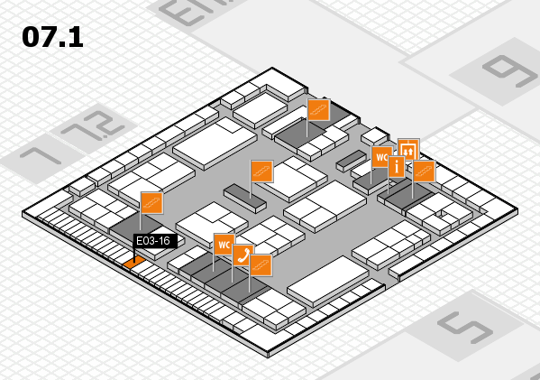 K 2016 hall map (Hall 7, level 1): stand E03-16