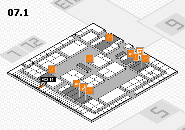 K 2016 hall map (Hall 7, level 1): stand E03-14