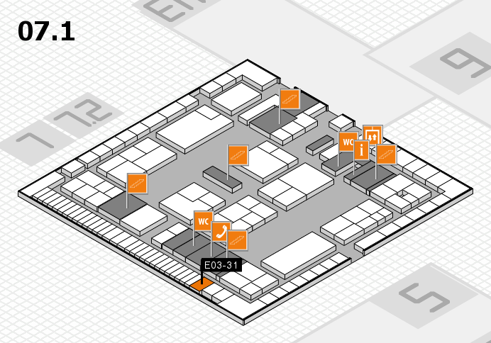 K 2016 hall map (Hall 7, level 1): stand E03-31